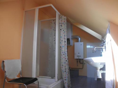 Sociální zařízení se sprchou v podkroví